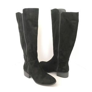 Merona black faux suede knee-high tall boots sz 9